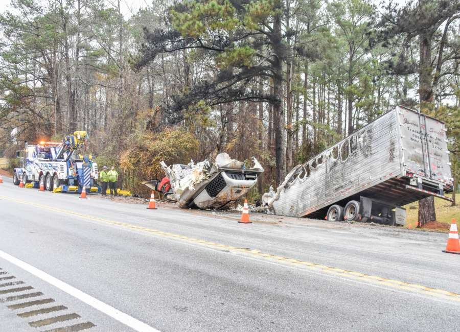 Three hurt in fiery head-on crash