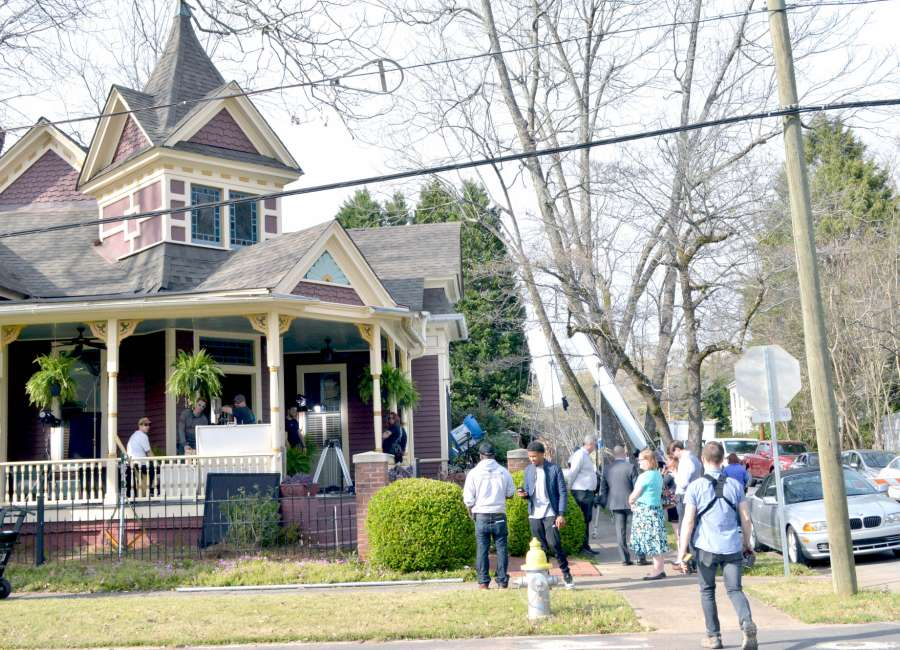 Two productions filming in downtown Newnan Wednesday