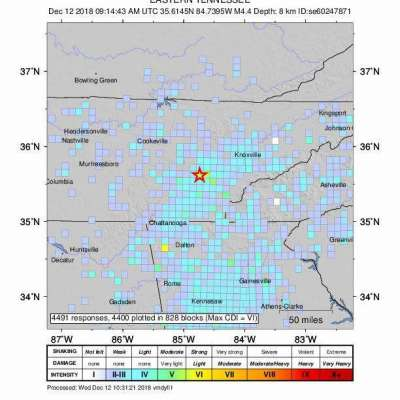 Magnitude 4.4 earthquake jolts Tennessee; felt in Atlanta