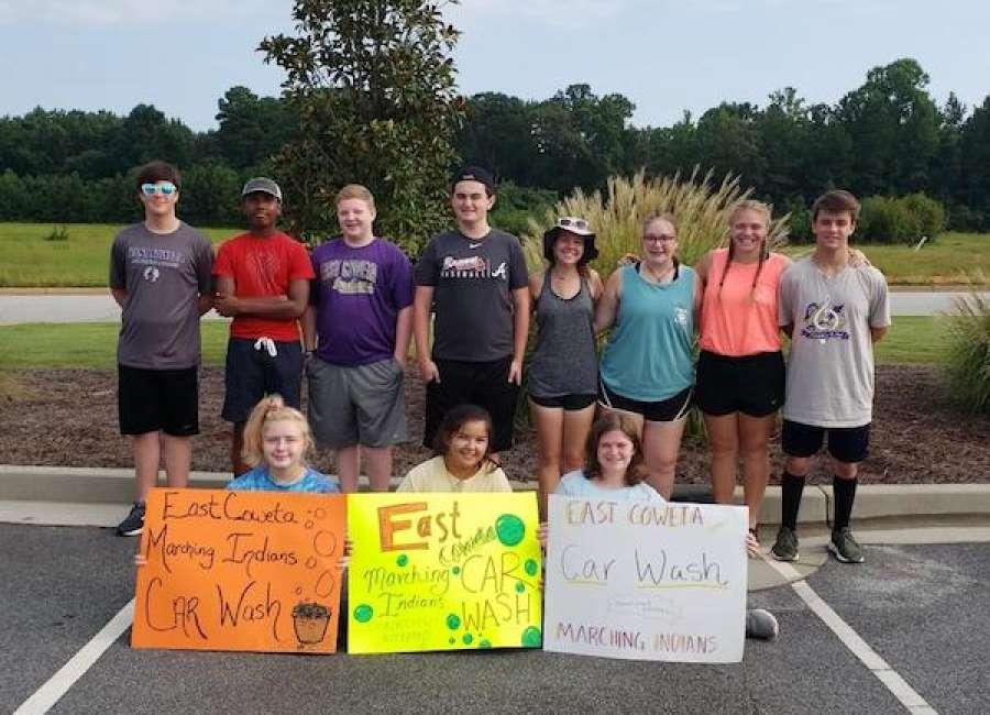 East Coweta band holds car wash fundraiser