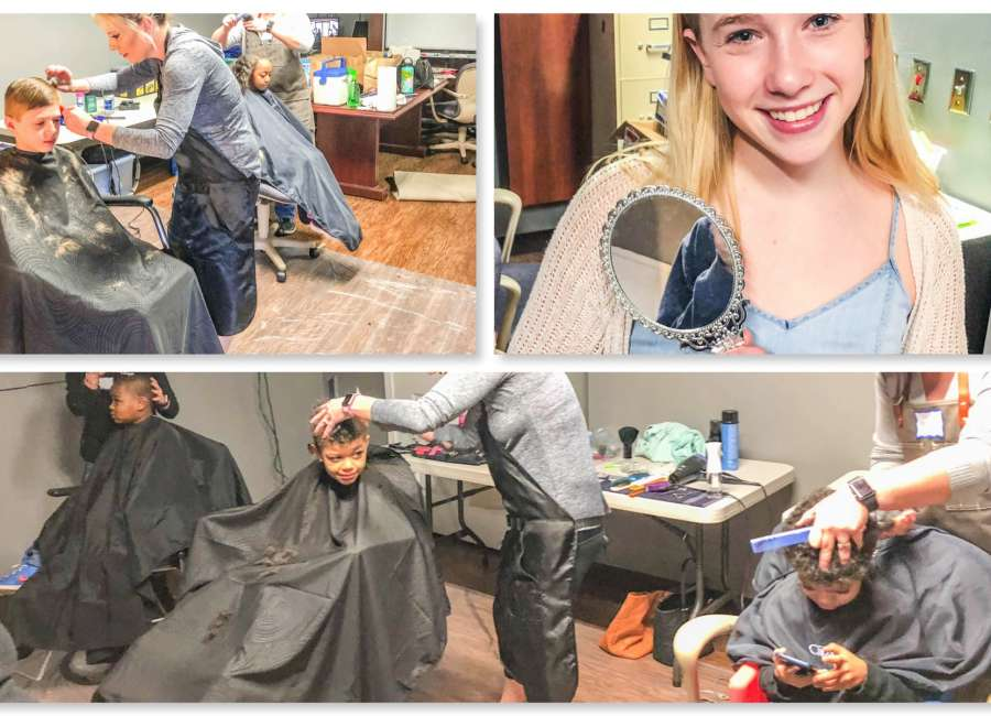 Haircuts at BTG center of Girl Scout Gold project
