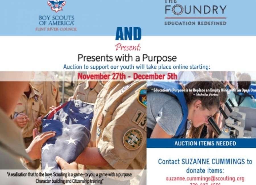 Auction to benefit Flint River Council Boy Scouts, Foundry School