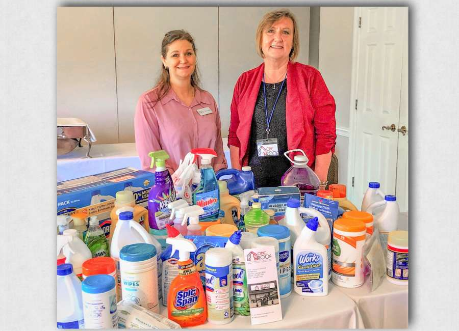 Coweta Kiwanis 'showers' The Lodge with needed cleaning supplies