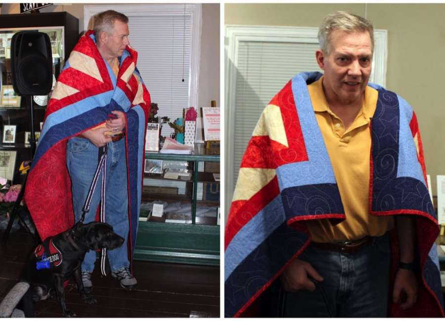 Coweta Quilts of Valor Award Quilt to Senoia Resident