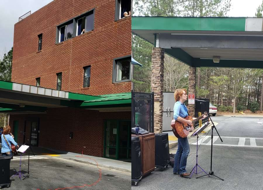 Musician performs for Monarch House