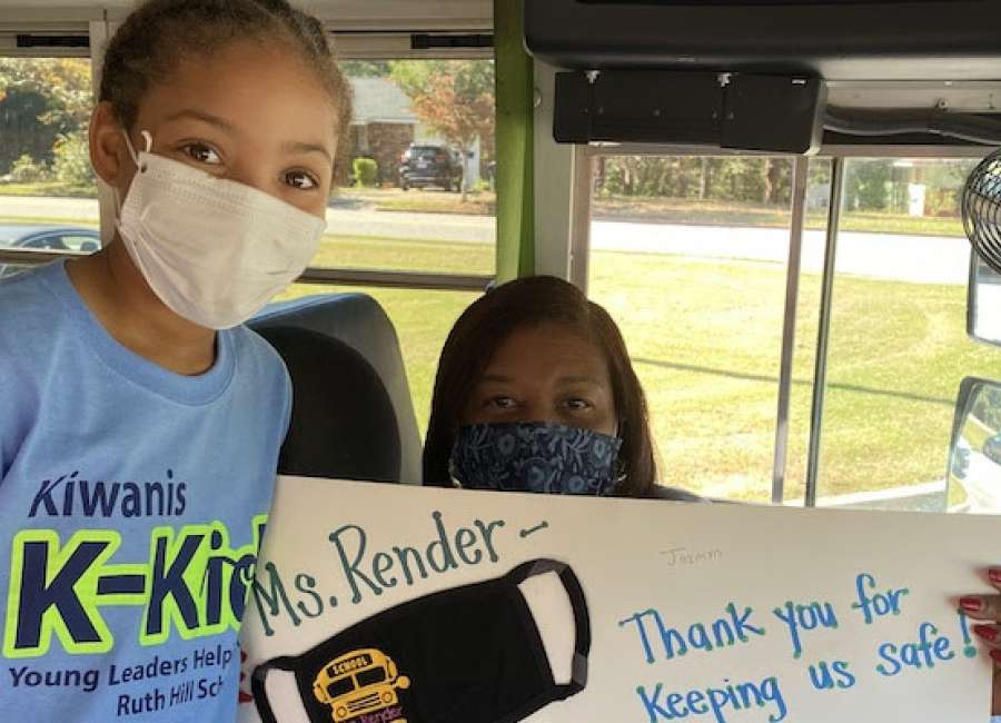 Ruth Hill K-Kids show appreciation to bus drivers