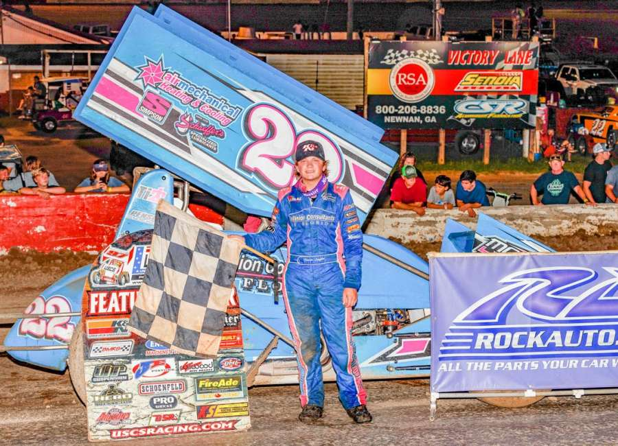 Third to first on final lap puts fifteen-year-old Loeffler In Senoia Raceway Victory Lane