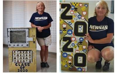 Artist's newspaper box art celebrates the class of 2020