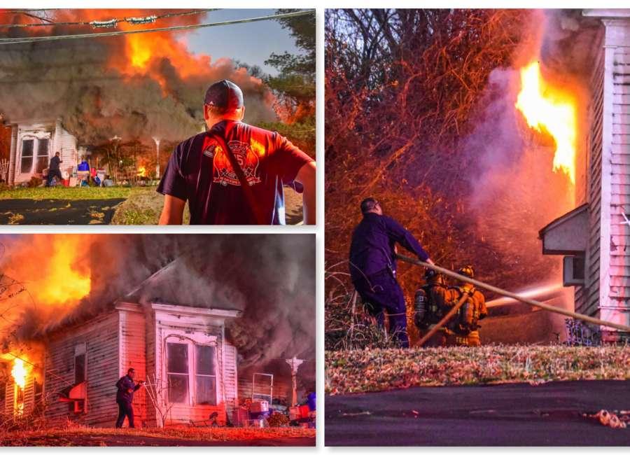Firefighters battle East Broad blaze