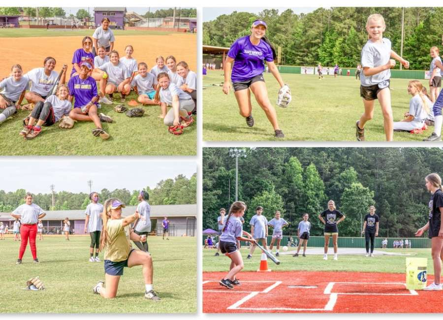 Junior softballers get instruction from the State Champions