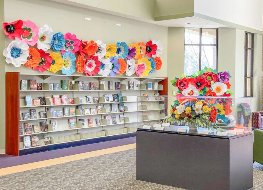 Paper flowers on display at Central Library