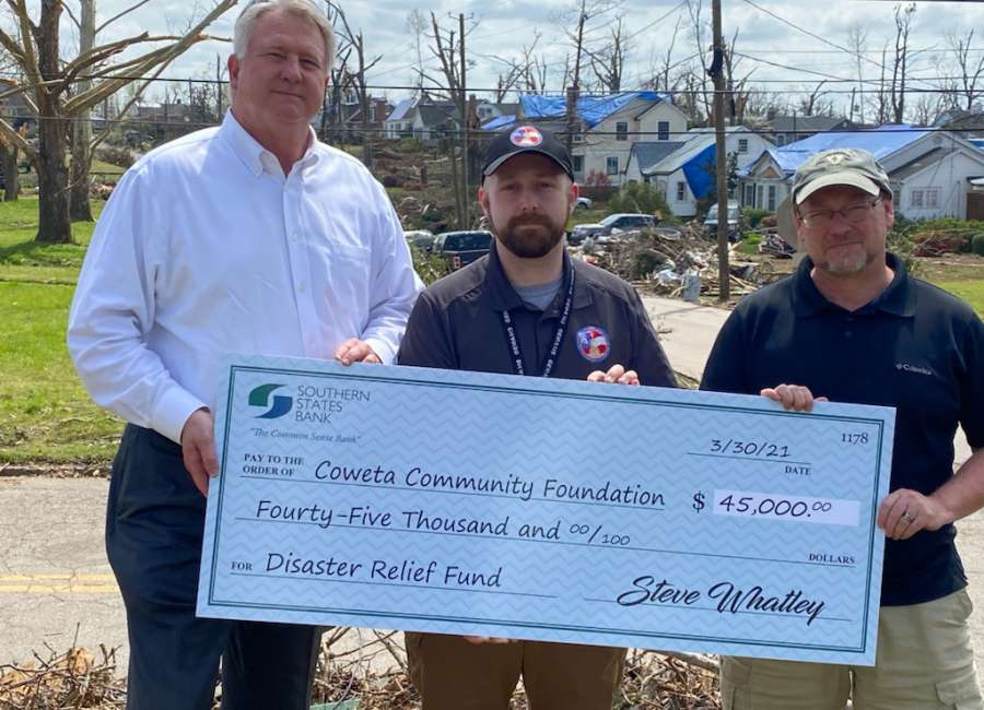 Southern States Bank donates $45k to Coweta's official disaster relief fund
